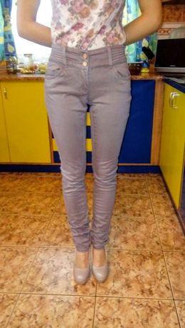Spodnie rurki beżowe wysoki stan flame xs