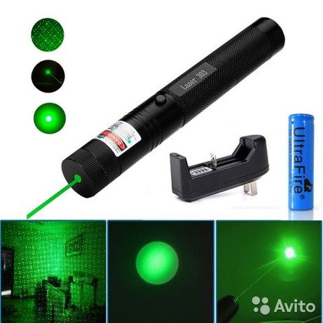 Лазерная указка Green Laser Pointer 303, зеленый лазер, с насадками