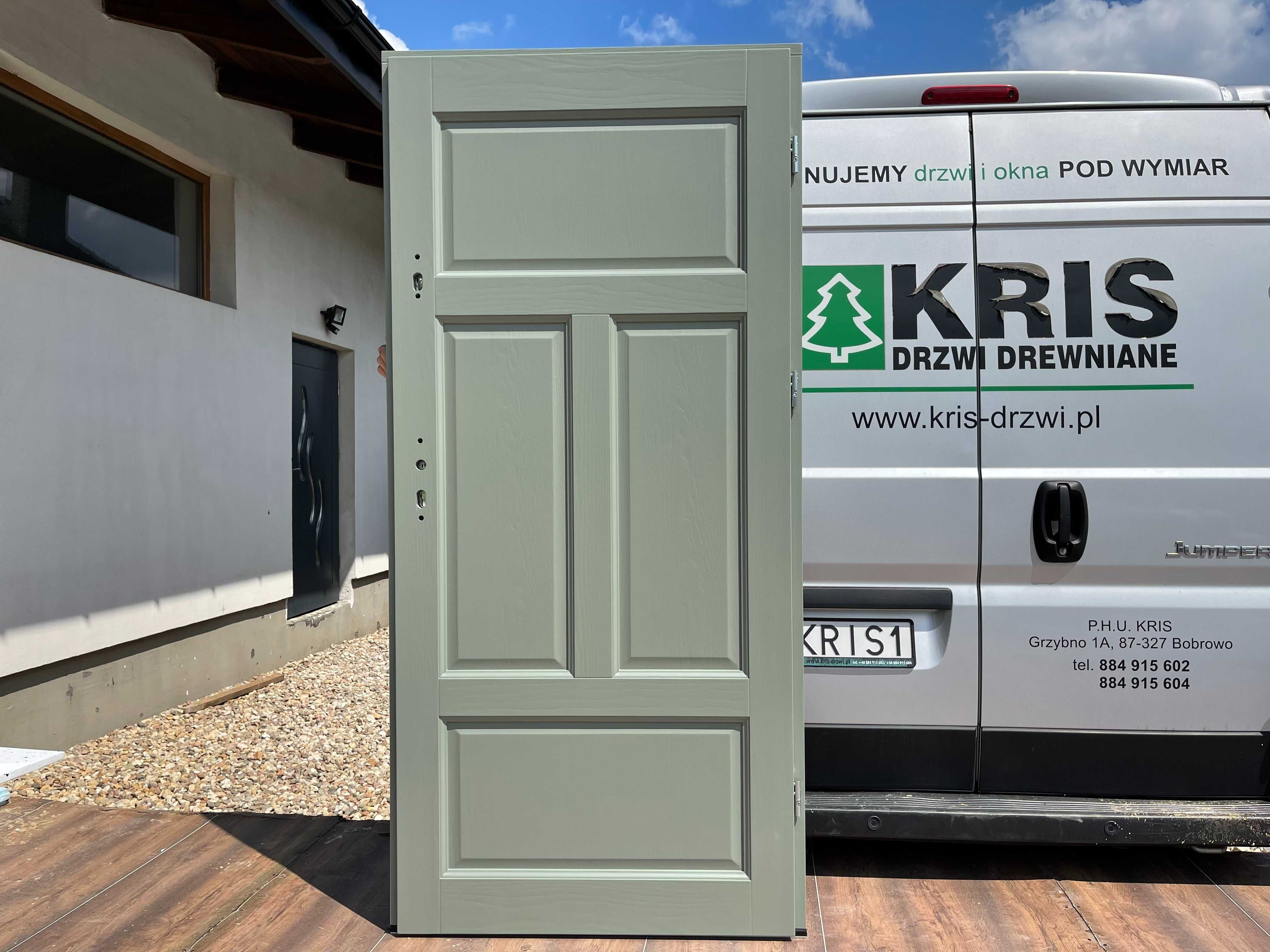 Drzwi wewnątrzklatkowe drewniane zielone , białe ,niebieskie OD RĘKI