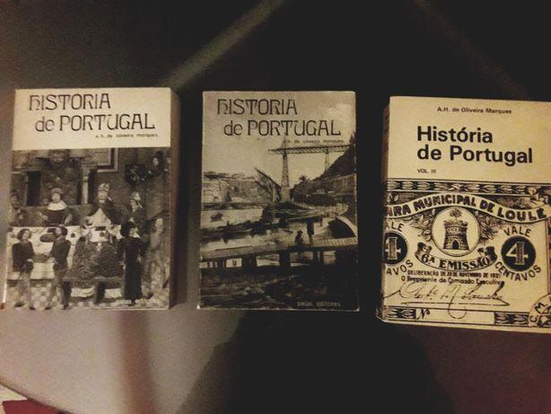 História de Portugal, de A. H. de Oliveira Marques, vol. I, II e III