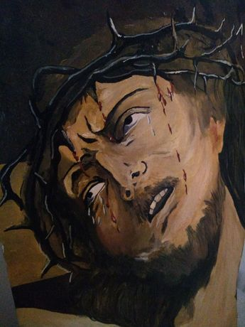 Chrystus cierpiący obraz na desce ze specyfikacją autorstwa