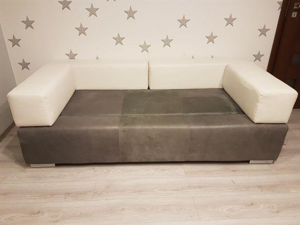 Sofa skórzana szaro-biała
