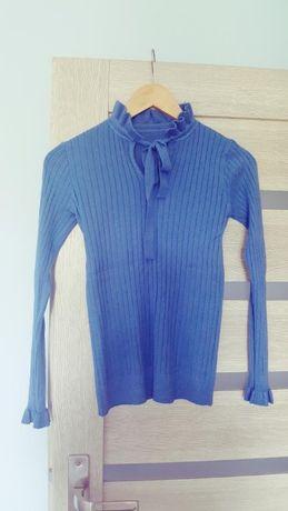 Niebieski sweterek wiązany pod szyją S