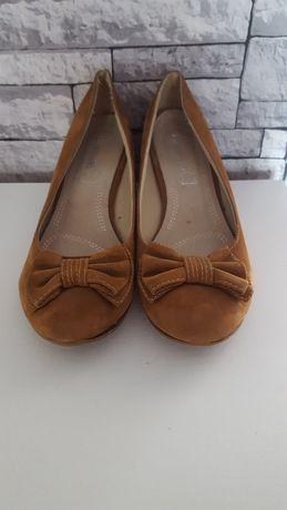Buty damskie rozmiar 40 skóra naturalna zamsz czółenka