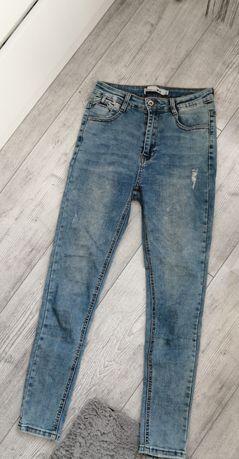 spodnie skinny jeans z wysokim stanem