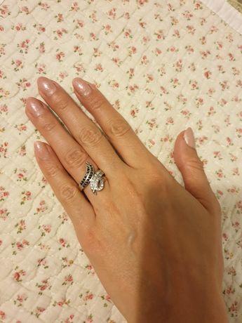 Srebrny srebro pierscionek z cyrkoniami