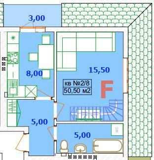 Двухъярусная квартира 50м2 по супер цене