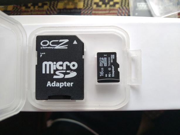 Карта пам'яті Kingston 16гб, мікро сд, micro SD 16 GB