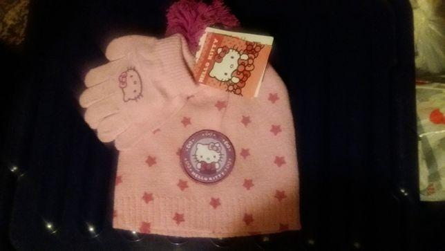 Dziewczęca czapeczka i rękawiczki Hello Kitty