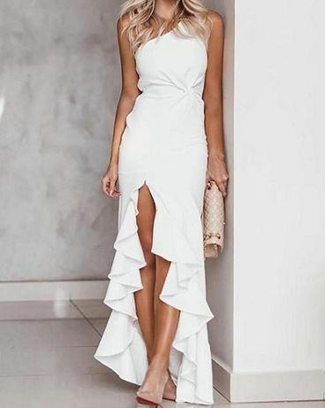 Biała suknia ecru S M 36 38 jedno ramie falbany ŚLUB CYWILNY POPRAWINY