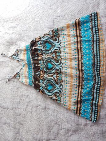 turkusowa sukienka h&m letnia 34 36 r. S