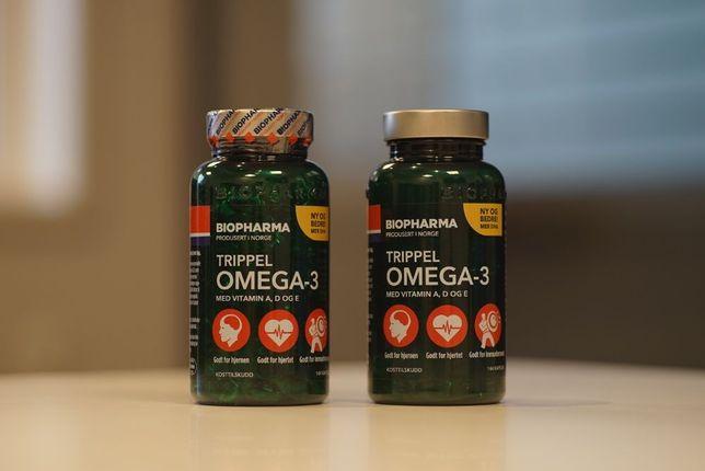 Рыбий жир из Норвегии, Biopharma Trippel OMEGA-3, с витаминами A,D,E