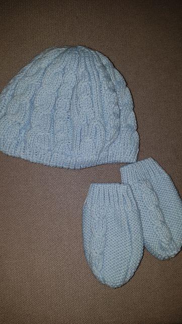 Zestaw czapka 48cm i rękawiczki dla dziewczynki