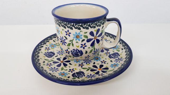 Kubek z talerzykiem ceramika Bolesławiec