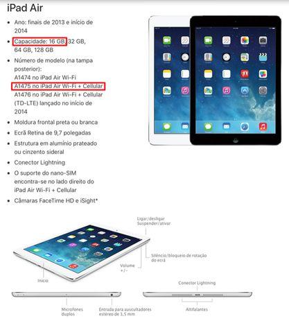 Apple iPad Air, modelo A1475