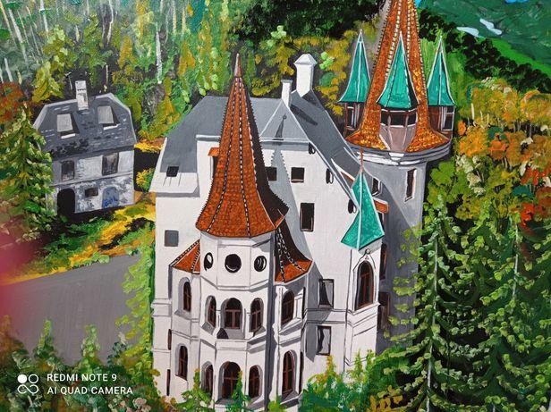 Картина маслом на холсте Австрия пейзаж лето природа замок