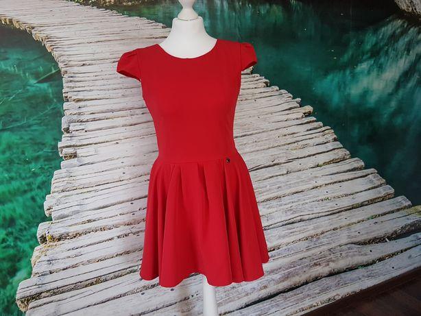 Sukienka Elegancka Czerwona Muah M Z Koła Na Wesele Przyjęcie L