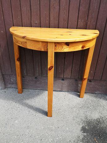 Sosnowy drewniany stolik półokrągły ikea