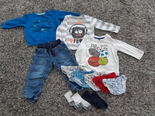 Zestaw ubrań paka chłopaka chłopca 92 spodnie bluzka majtki skarpetki
