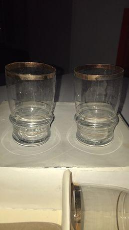 Szklanki 6 sztuk komplet szkło stare nowe zestaw złoty szklanka PRL