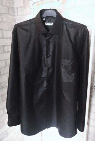 Мужская брендовая рубашка благородного черного цвета Италия