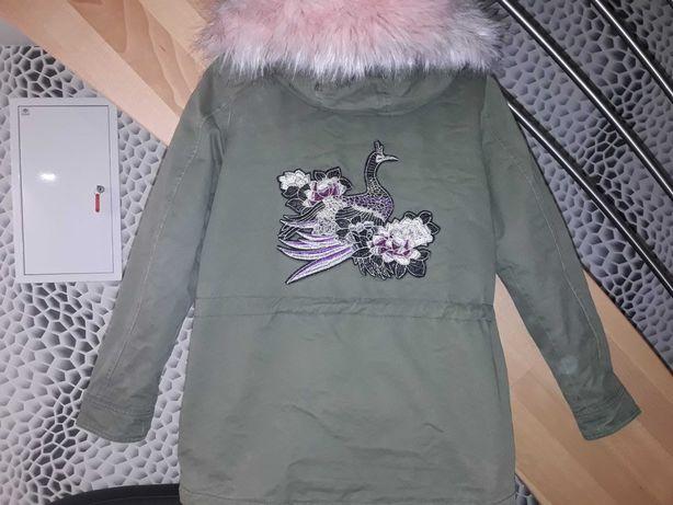 Parka kurtka dziewczęca 158/164, haft pieknego pawia z tylu