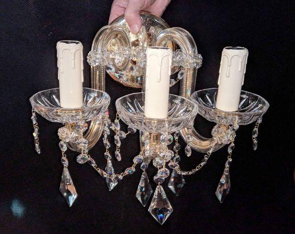 Aplique 3 Lâmpadas Cristal Metal Dourado