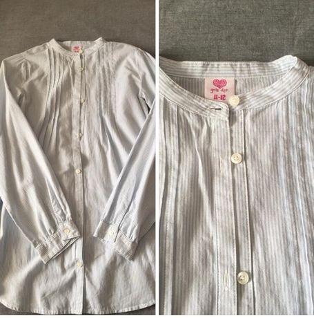 Camisa túnica riscas azul e branco LEFTIES tamanho 11/12 nova