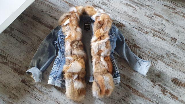 Katana lis naturalny futro Jeans nowa promo do końca mca