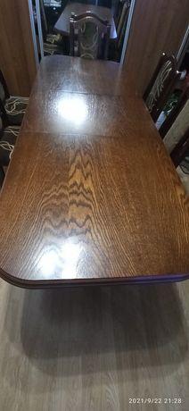 Stół + 6 krzeseł ciemny brąz