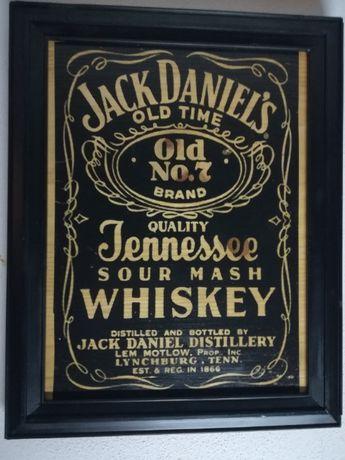 Jack Daniels Quadro com gravação artesanal sobre madeira