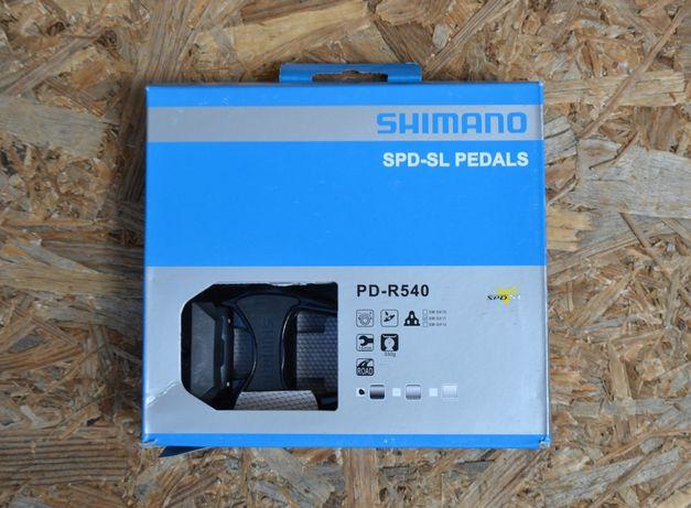 Шоссейные контактные педали Shimano PD R540. Новые. Шипы в комплекте.