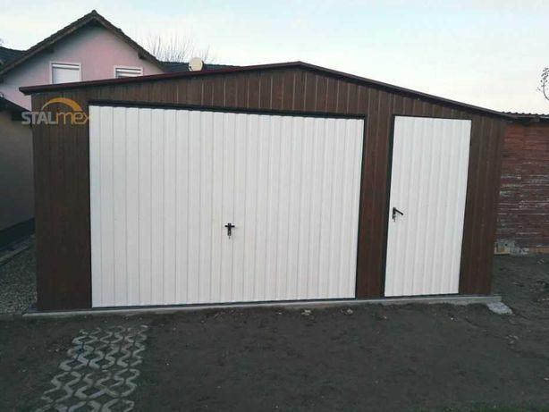 Garaż blaszany 5x5 struktura drewna - garaże blaszane od producenta