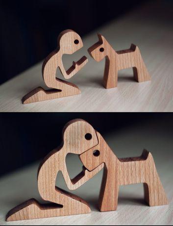 Игрушка из дерева , подарок,,Мальчик с собачкой,.