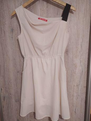 Sukienka beżowa nude czarna asymetryczna kieszenie M 38
