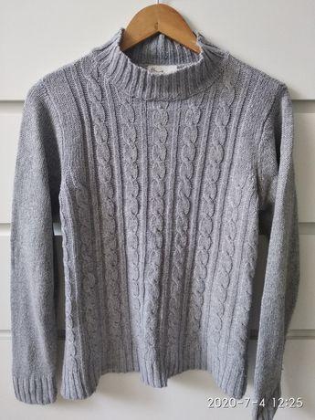 Sweter półgolf golf szary oversize M splot melanż