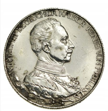 Moneta Piękne 2 marki Wilhelm mundur 1913 stan 1-