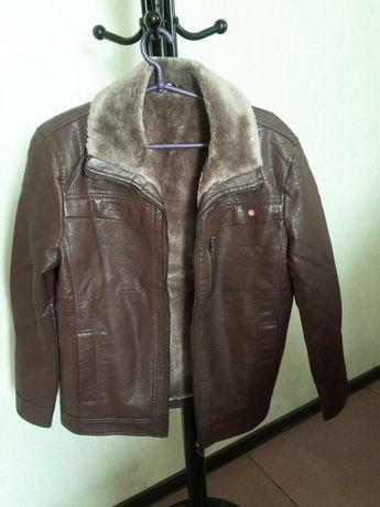 Куртка кожанка мужская с мехом!