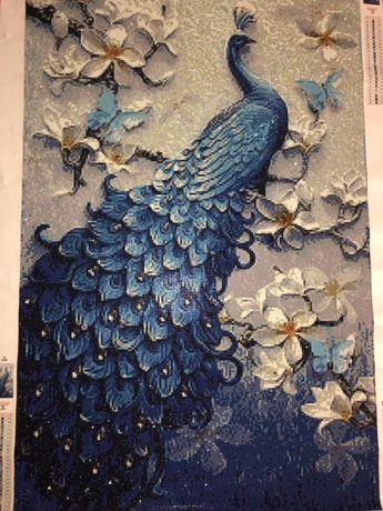 Готовая Алмазная вышивка Синий павлин 60/90 большая