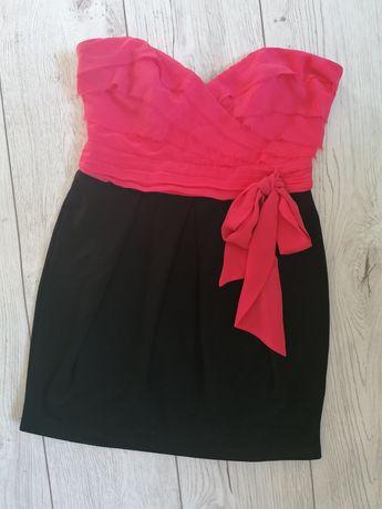 Sukienka mini koralowa tiul M L 38 40 kokarda
