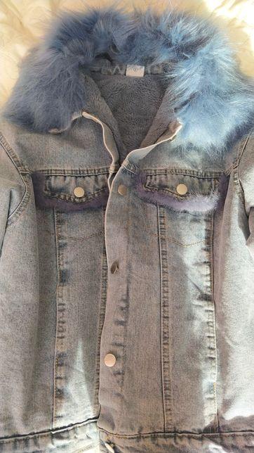 Женская джинсовая куртка, курточка на меху С, М