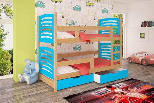 Łóżko piętrowe dziecięce Janek 2 z szufladami, materace gratis! KOLORY