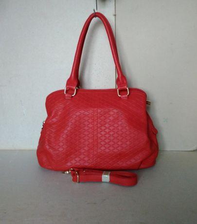 сумка сумочка красная с длиными ручками + ручка на карабинах