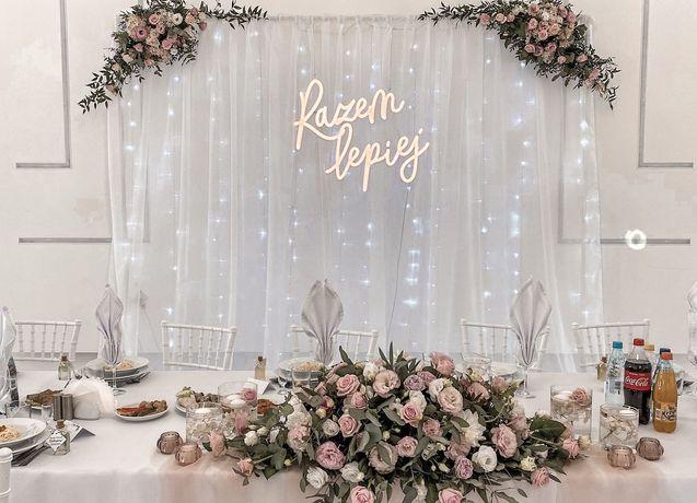 Dekoracje ślubne: Ścianka ślubna weselna, Napis led Razem Lepiej