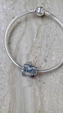 Srebrny wózek dziecięcy Charms do bransoletek pandora