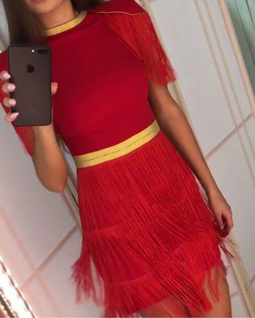 Платье вечернее бахрома нарядное новогоднее