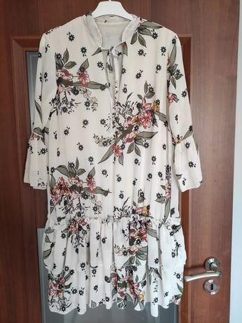 Suknia letnia beżowa kremowa w kwiaty stan bdb rozmiar uni