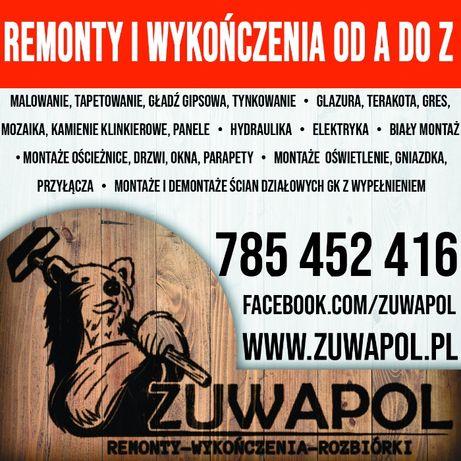 Remonty / Wykończenia wnętrz / od A do Z / Solidnie / Wolne terminy