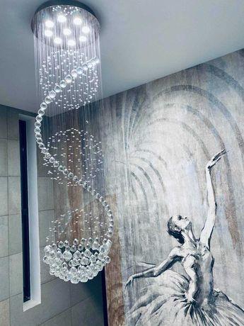 Żyrandol kryształowy 180 cm PABLO 3 kule LED lampa HOL schody RATY