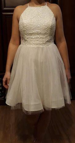 Sukienka tiulowa ślubna wesele poprawiny biała cekiny tiul